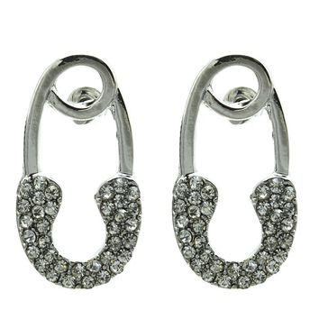 Clear Safety Pin Pave Crystal Stone Earring