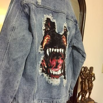 Givenchy Jean Jacket 'Size XL' (Distressed detailing and Rottweiler Line)
