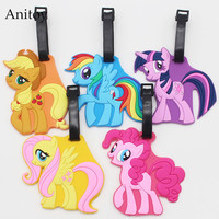 My Cute Lovely Little Horse Poni creative silicone Girl luggage tag pendants Kids hang tags KT2711  hwd 80's
