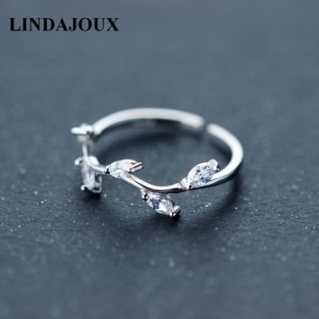 LINDAJOUX 925 Sterling Silver Clear Zircon Cute Treen Branch Charm Open Ring For Women S925 Wedding Engagement Rings