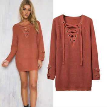 v neck Lace Drawstring sweater B0015544