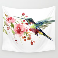 Hummingbird Wall Tapestry by sureart