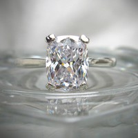 Handmade 2CT Elongated Cushion Cut Russian Lab Diamond Solitaire Engagement Ring