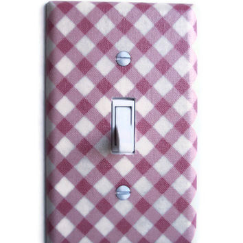 Pink & Cream Lattice Single Toggle Switch Plate by PopGoesTheColor