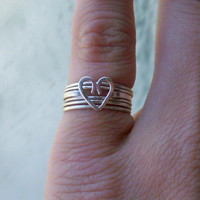 Love Sterling Silver Stacking Ring set, with heart focal and Bands any size
