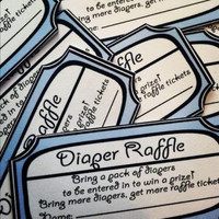 Instant Download-Blue and White Printable Diaper Raffle Tickets Baby Boy Shower Game