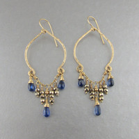 Exotic Moroccan Inspired Chandelier Earrings, Blue Kyanite Gold Earrings, Kyanite Gold Fill Chandelier Earrings