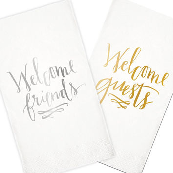 Welcome - Foil Stamped Guest Napkins