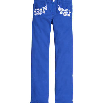 H&M - Embroidered Pants - Bright blue - Kids