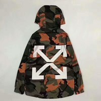 Off white Fashion Camouflage Hooded Zipper Cardigan Sweatshirt Jacket Coat Windbreaker Sportswear