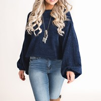 Sariyah Chenille Sweater (Navy)