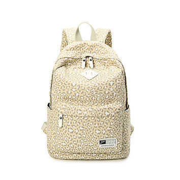On Sale Casual Comfort Stylish Hot Deal College Back To School Leopard Canvas Backpack [6304975428]
