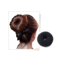 DragonPad BLACK BUN HAIR FORMER DONUT DOUGHNUT SHAPER RING STYLER HAIRDRESSING Diameter:9cm