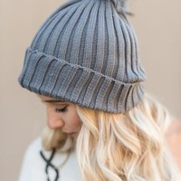 Winter Faux Fur Pom Pom Beanie - Gray
