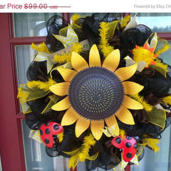 10.00 off Beautiful Black and Yellow Sunflower Summer Deco Mesh Wreath