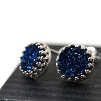 Midnight Blue Druzy Earrings, Silver Studs, Blue Bridal Jewelry, Wedding Earrings, Gemstone Stud Earrings, Druzy Studs, Post Earrings
