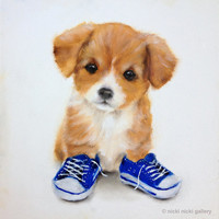 Puppy Tennis Shoes Art Print, Shabby Chic Baby Nursery, Eco Friendly Kids Wall Art