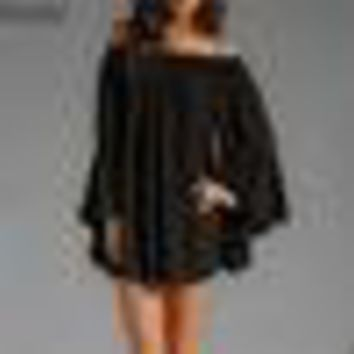 Baggy Flare Sleeve Off Shoulder Chiffon Blouse