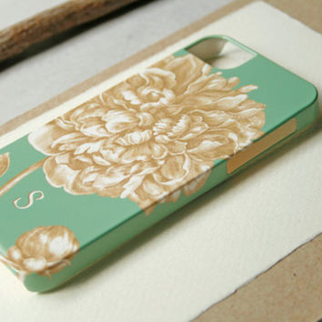 Monogrammed Peony iPhone 5 Case, Mint Green and Gold iPhone4 Case, iPhone 5S