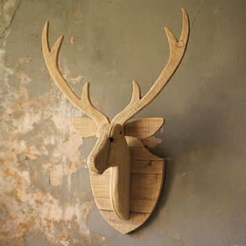 Recycled Wooden Deer Head Wall Hanging ~ Large
