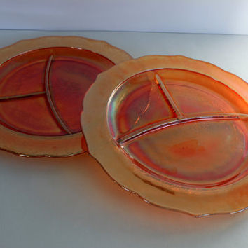pair of 1930s depression glass grill plates // federal glass NORMANDIE  // iridescent  // set of 2 divided plates // 11""