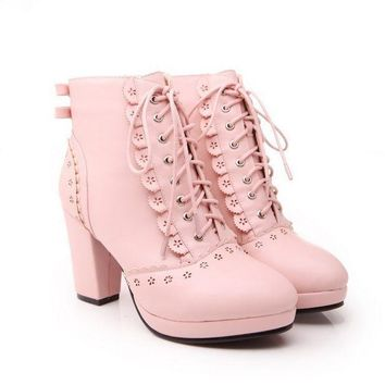 PEAPON Lovely lace up solid color high heels boots