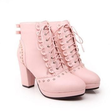 ESBON Lovely lace up solid color high heels boots