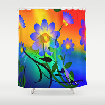 Abstract Floral Shower Curtain by Colorful Art