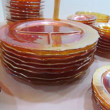Orange Carnival Glass Divided Plates Marigold Carnival Glass Restaurant Grill Plates Rainbow Glassware Iridescent  Mid Century Glassware