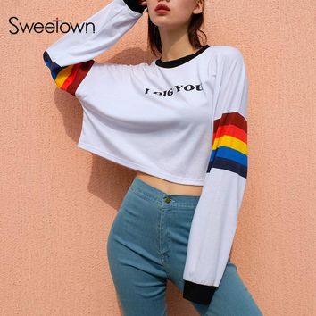 Sweetown Korean Style Harajuku Sweatshirt O Neck Rainbow Striped Long Sleeve Crop Top Shirt Oversized Hoodies Sweatshirts Women