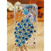 FREE SHIPPING Apple iPhone4S 4G Blue Crystal Peacock Bird Clear Transparent Cute Girly Protective Skin Back Case Cover
