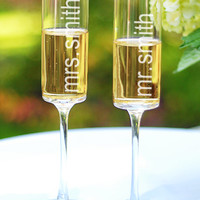 Personalized Contemporary Toasting Flute Set - David's Bridal - mobile