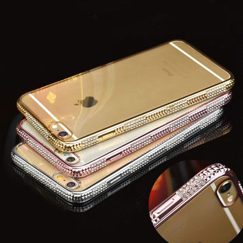 Luxury Bling  Rhinestone Frame Case For iphone 6 6s 6 plus Ultra Thin Clean Soft TPU Crystal Diamond Fashion