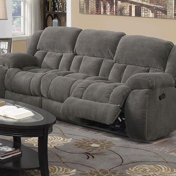 Textured Chenille Fabric Upholstered Padded Reclining Sofa, Gray - 601921