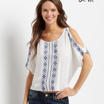 Aeropostale  Lorimer Cold Shoulder Peasant Top