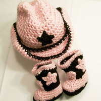 Baby Girls Crochet Cowboy Boots, Cowboy Hat, Pink and Brown, Baby Girl Gift, Baby Shower Gift, made in the USA, #64