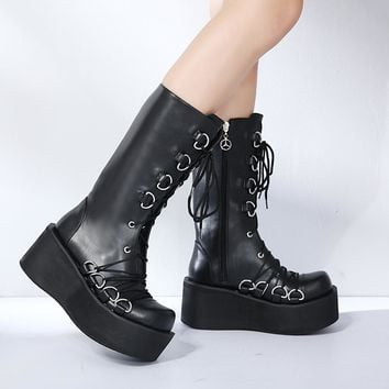 Women Black Boots Casual Mid Calf Wedges Platform High Heel Boots Punk Gothic