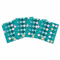 """Famenxt """"Mermaid Fish Scales"""" Teal Nautical Illustration Indoor/Outdoor Place Mat (Set of 4)"""