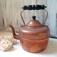 Vintage Brass Tea Pot, Metal Patina Tea Pot, Decorative Tea Pot, Shabby Chic, Country Cottage Kitchen, Distressed Tea Pot, Photo Prop