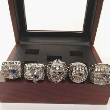 Drop Shipping Good Quality 2001/2003/2004/2014/2016 New England Patriots Championship Rings sets with Wooden Boxes