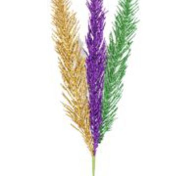 17in Long x 1 1/2in Wide Mardi Gras Glittered Fern Spray
