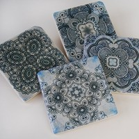 Blue Henna stone coaster set