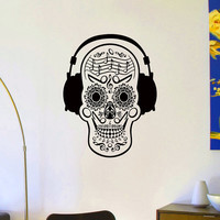 Sugar Skull Wall Decal Vinyl Sticker Day Of The Dead Skull Wall Decals Murals Music Headphones Skull Bedroom Dorm Wall Art Home Decor Z857