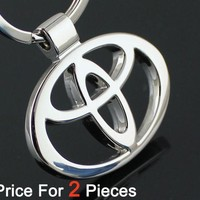 2pcs/lot Automobile Accessaries Key Rings Chains Keyring Keychain For Toyota Car Logo Badge Brands Emblem Marks