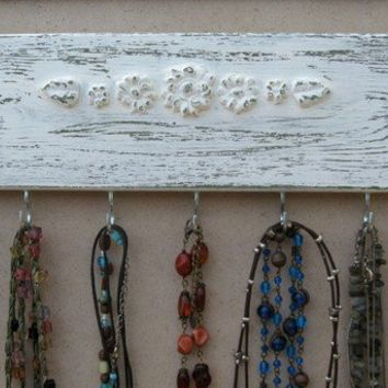 Cream Shabby Chic Necklace Holder Jewelry Organizer