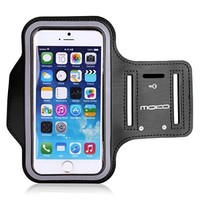 iPhone 6s / iPhone 6 Armband, MoKo Sports Armband for Apple iPhone 6s / iPhone 6, Key Holder & Card Slot, Water Resistant, Sweat-proof, BLACK (Compatible with Cellphones up to 5.2 Inch)