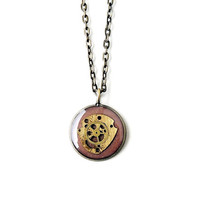 Watch Parts Necklace, Brown Vintage Style Pendant, Steampunk Jewelry, Watch Parts Jewelry, Resin Jewelry, Time Clock, Upcycled Recycled