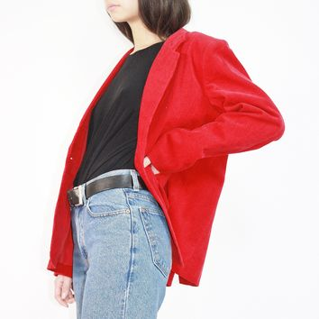 Cherry Red Corduroy Blazer / M L