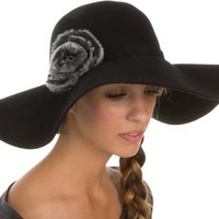 8441LFW - Sakkas Womens 100% Wool Wide Brim Foldable Floppy Hat with Faux Fur Accent - Black/One Size