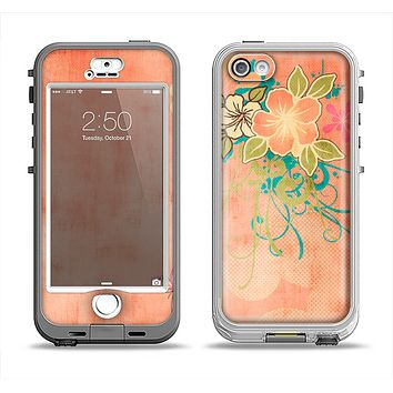 The Vintage Coral Floral Apple iPhone 5-5s LifeProof Nuud Case Skin Set